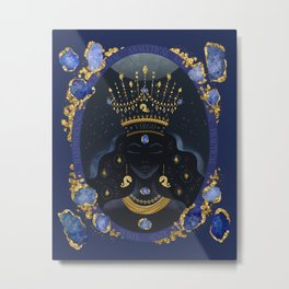 Virgo Zodiac Queen   September Birthday   Sapphire Birthstone Metal Print