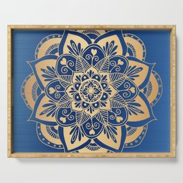 Blue and Gold Flower Mandala Serving Tray