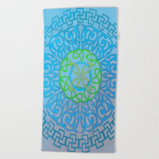 Blue Mandala Beach Towel