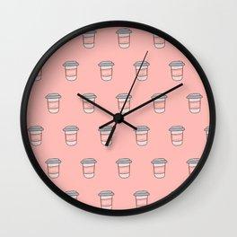 Coffee pattern in pink Wall Clock