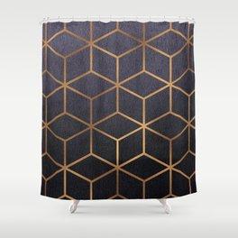 Dark Purple and Gold - Geometric Textured Gradient Cube Design Shower Curtain