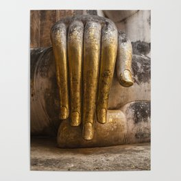 Golden Hand of a Buddha in Wat Sri Chum Thailand Poster