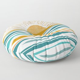 The Sun and The Sea - Gold and Teal Floor Pillow