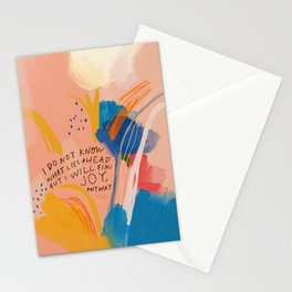 Find Joy. The Abstract Colorful Florals Stationery Cards