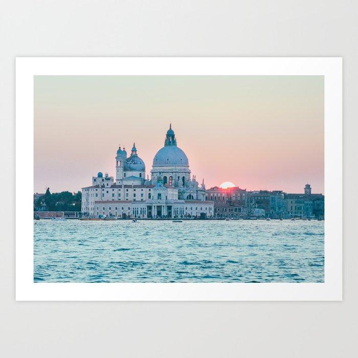 The Salute at Sunset in Venice Fine Art Print Art Print