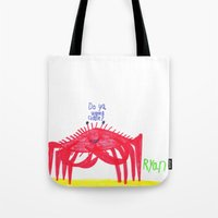 cuddle Tote Bags featuring Wanna Cuddle? by Ryan van Gogh