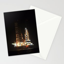 Oil Rig At Sea At Night Stationery Cards