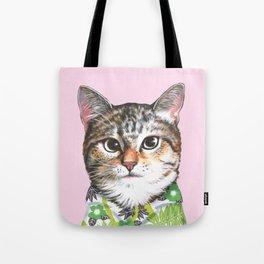 cat in tropical shirt Tote Bag