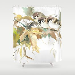 Sparrows and Fall Tree, three birds, brown green fall colors Shower Curtain