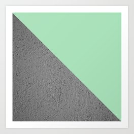 Geometrical Color Block Diagonal Cement vs mint diagonal Art Print