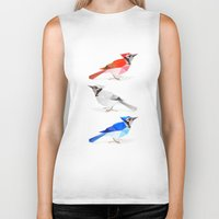 jay fleck Biker Tanks featuring Red jay, white jay, blue jay. by The animals moved to - society6.com/dian