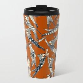 dog party indigo rust Travel Mug