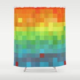 Pixel Rainbow Shower Curtain
