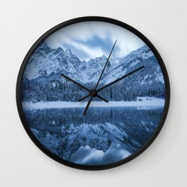 Majestic mountain Mangart reflection Fusine lake Italy Wall Clock