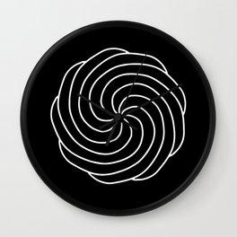 White Spiral on Black Wall Clock