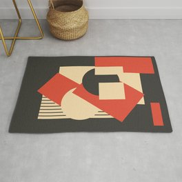 Geometrical abstract art deco mash-up scarlet beige Rug