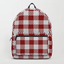 Dark Red Buffalo Plaid Backpack