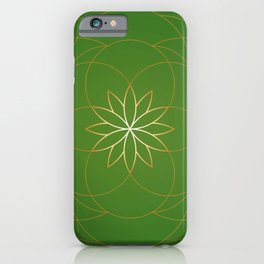 Minimalist Sacred Geometric Succulent Flower in Gold and Emerald Green  iPhone Case
