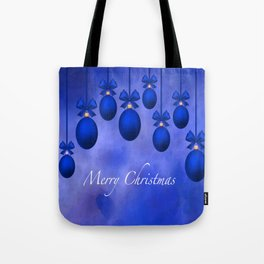 Merry Christmas Ornaments Bows and Ribbons – Blue Tote Bag