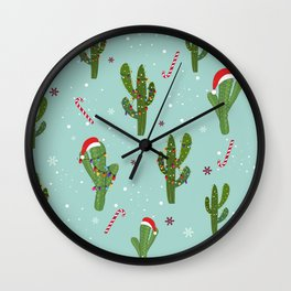 Cactus With Colorful Light Bulb. Merry Christmas and Happy New Year Seamless Pattern Wall Clock
