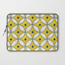 Mediterranean hand painted tile in Yellow, Blue and White Laptop Sleeve