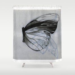 Pencil Drawing Art Work of Butterfly Shower Curtain