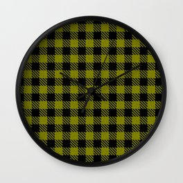 Olive Drab  Bison Plaid Wall Clock