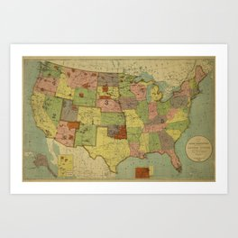 Map of Indian Reservations 1902 Art Print