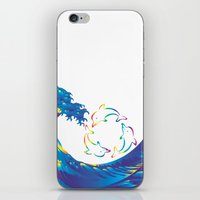hokusai iPhone & iPod Skins featuring Hokusai Rainbow & rotating dolphins_D by FACTORIE