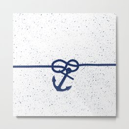 Nautical navy blue white anchor watercolor splatters Metal Print