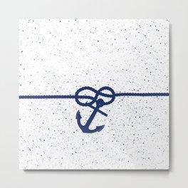 Nautical navy blue white anchor watercolor splatters Metal Print