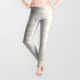 Geometric Gold Pattern With Gold Shimmer On White Leggings