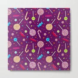 Delightful Candy Pattern Metal Print