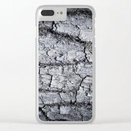 Texture - a bark of old oak with moss in grey colors Clear iPhone Case