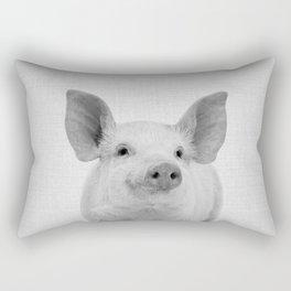 Pig - Black & White Rectangular Pillow