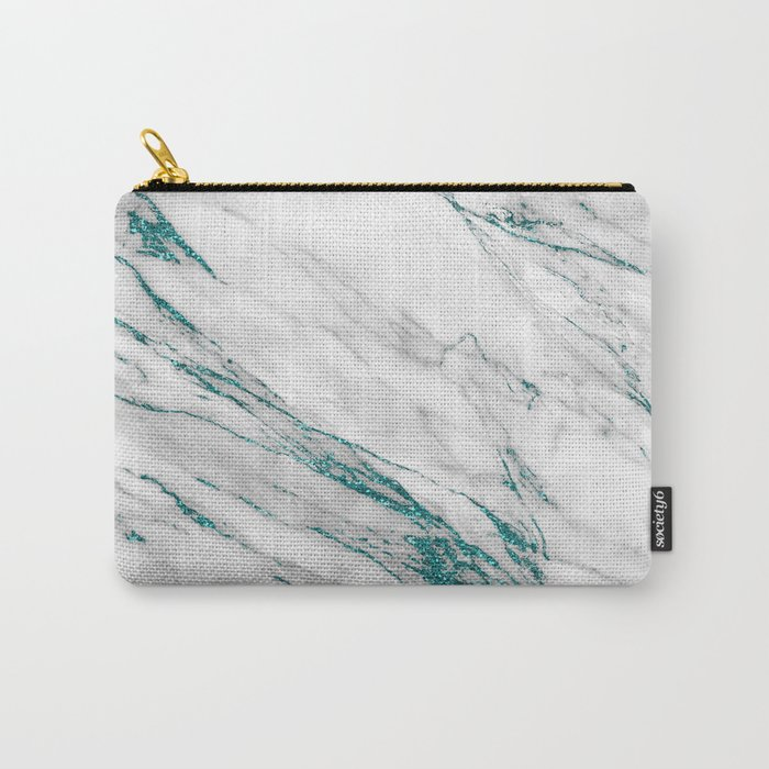 Gray Marble Aqua Teal Metallic Glitter Foil Style Carry-All Pouch