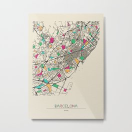 Colorful City Maps: Barcelona, Spain Metal Print