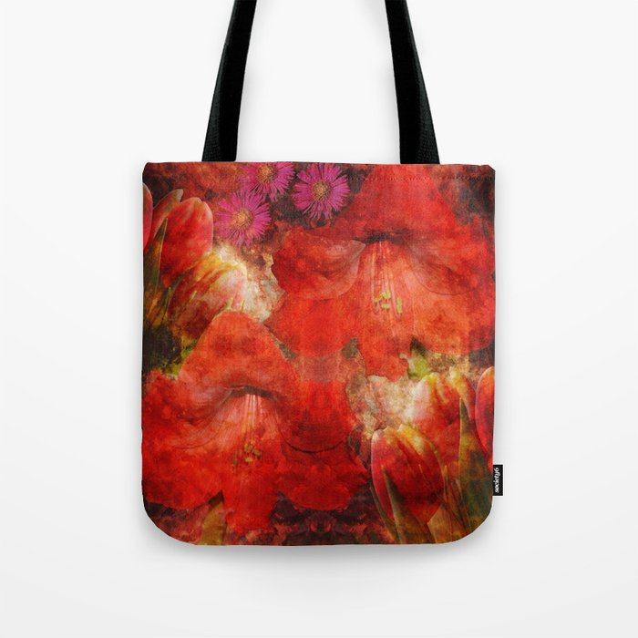 Floral impressionism in passionated red Tote Bag