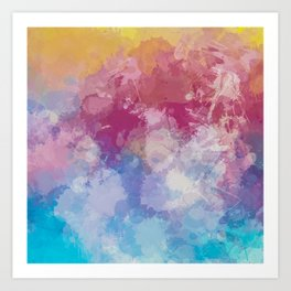 Bright Pastel Paint Splash Abstract Art Print