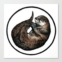 otter Canvas Prints featuring Otter by Natalie Toms Illustration