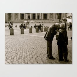 Tourists in Black and White  Canvas Print