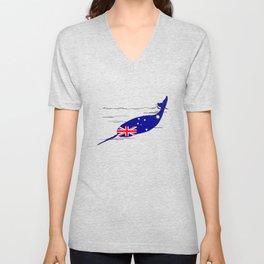 Australian Flag - Narwhal Unisex V-Neck