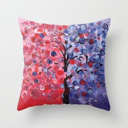 Abstract painting of a balance tree with graphic elements Throw Pillow