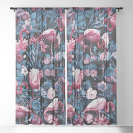 Floral and Flamingo VIII Sheer Curtain