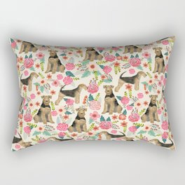 Airedale Terrier dog pattern dog breed pet portrait by pet friendly Rectangular Pillow