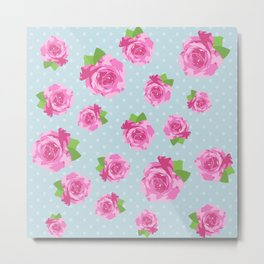Shabby Chic, Polka Dots, Roses - Pink Green Blue Metal Print
