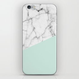 Real White marble Half pastel Mint Green iPhone Skin