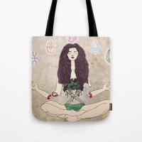 zen Tote Bags featuring Zen by minniemorrisart