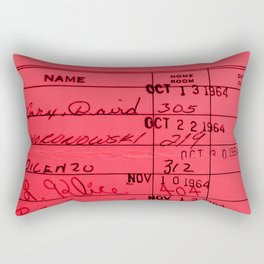 Library Card 23322 Red Rectangular Pillow
