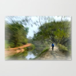 Epic Shot Cycling The Canal Route In Kerala, India Canvas Print